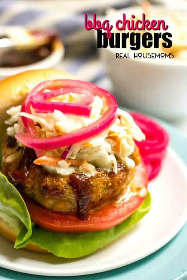 BBQ Chicken Burger topped with slaw and pickled red onion