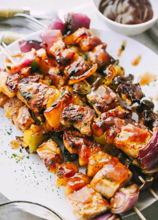 Barbecue Pineapple and Pork Skewers - Stacked with pork, sweet pineapples, and veggies, these juicy barbecue pork skewers are simple, yet SO incredibly flavorful!