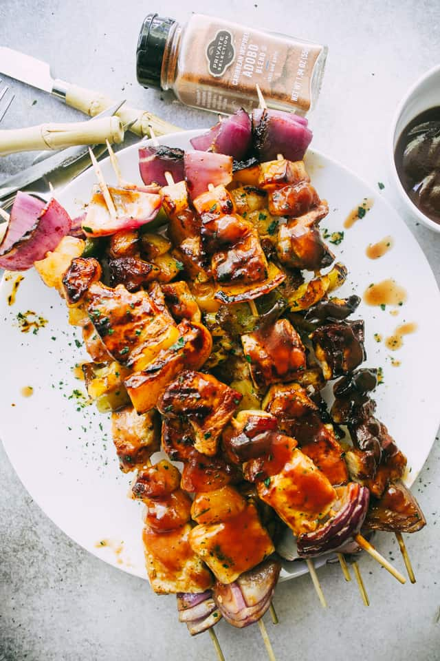 Barbecue Pineapple and Pork Skewers - Stacked with pork, sweet pineapples, and veggies, these juicy barbecue pork skewers are simple, incredible, and SO darn flavorful!