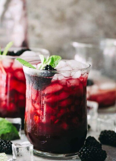 Blackberry Mint Julep - Sweet and fruity summer cocktail prepared with blackberries, mint, and bourbon.