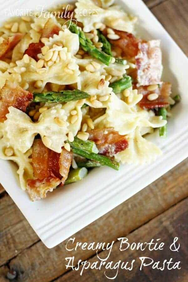 Creamy Bowtie and Asparagus Pasta on a square plate