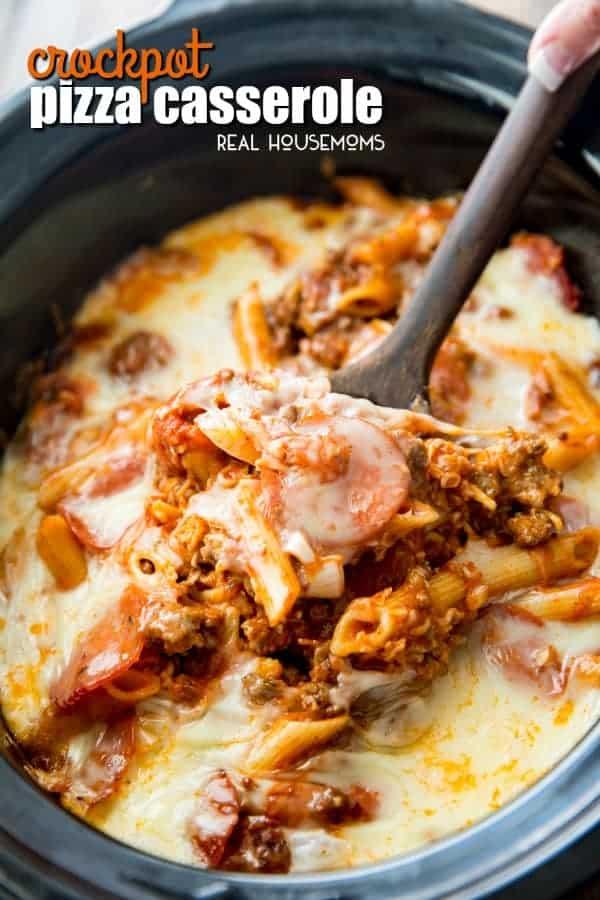 Crock Pot Pizza Casserole in a slow cooker