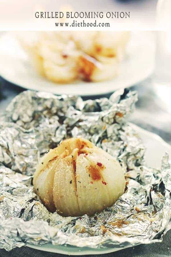 Grilled Blooming Onion on foil