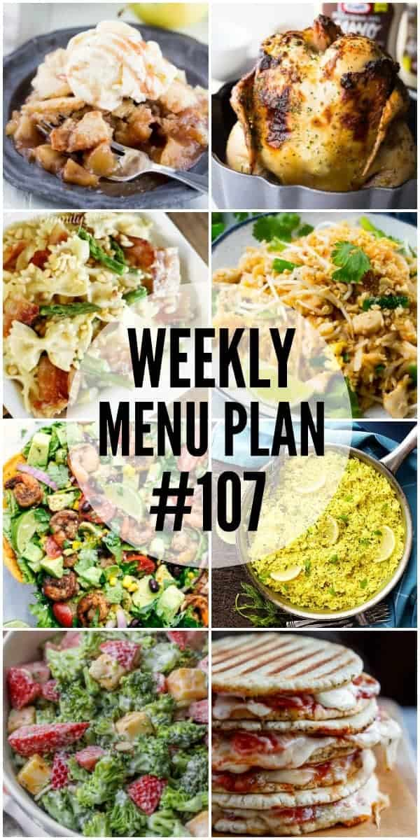Collage of 8 recipes from Week 107 Meal Plan