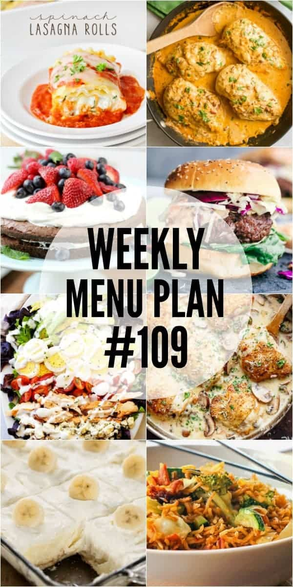 Collage of 8 recipes from Week 109 Meal Plan