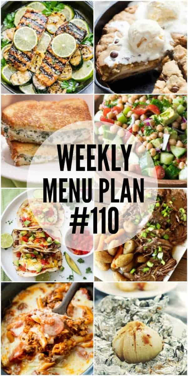 Collage of 8 recipes from Week 110 Meal Plan