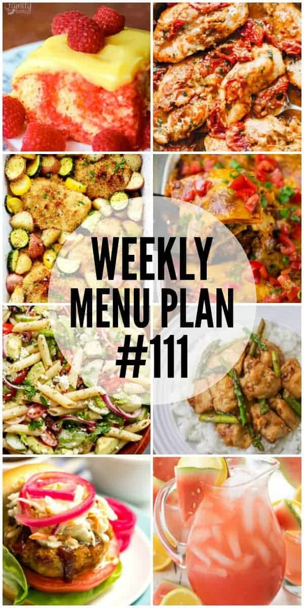 Collage of 8 recipes from Week 111 Meal Plan