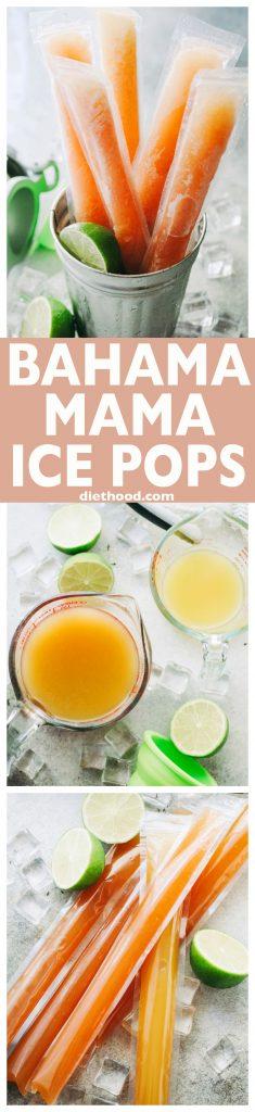 Bahama Mama Ice Pops - Refreshing, boozy treats made with pineapple juice, orange juice, and rum!