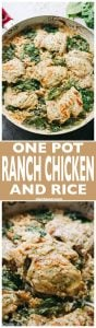 One Pot Ranch Chicken and Rice -Easy, quick, and delicious ranch flavored chicken cooked in one pot with rice and spinach.