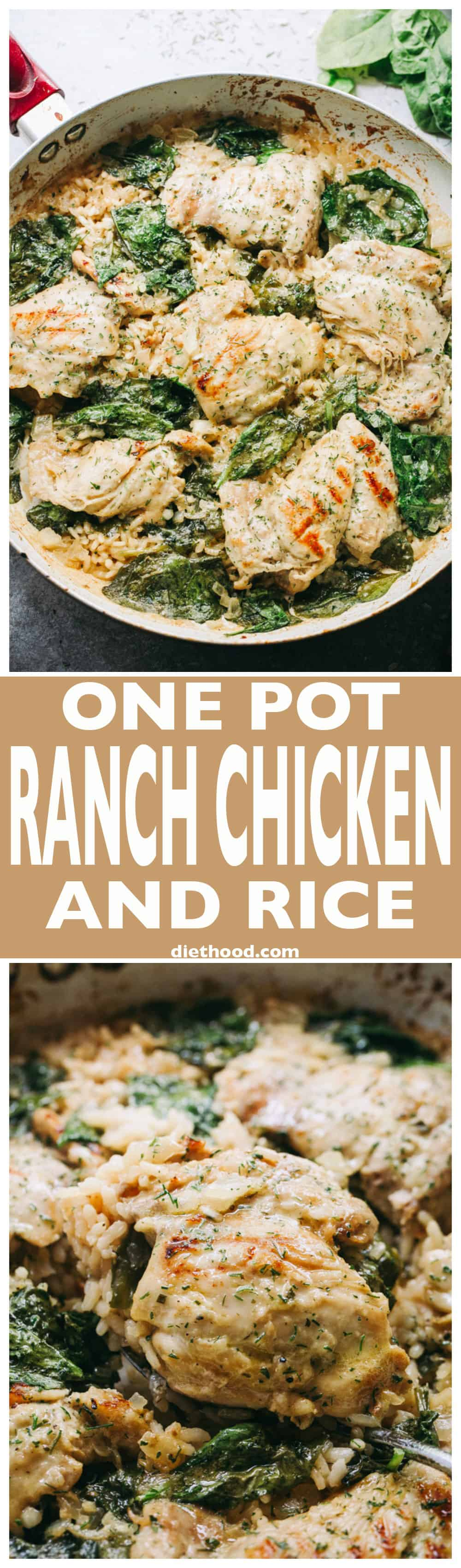 One Pot Ranch Chicken and Rice - Easy, quick, and delicious ranch flavored chicken cooked in one pot with rice and spinach.