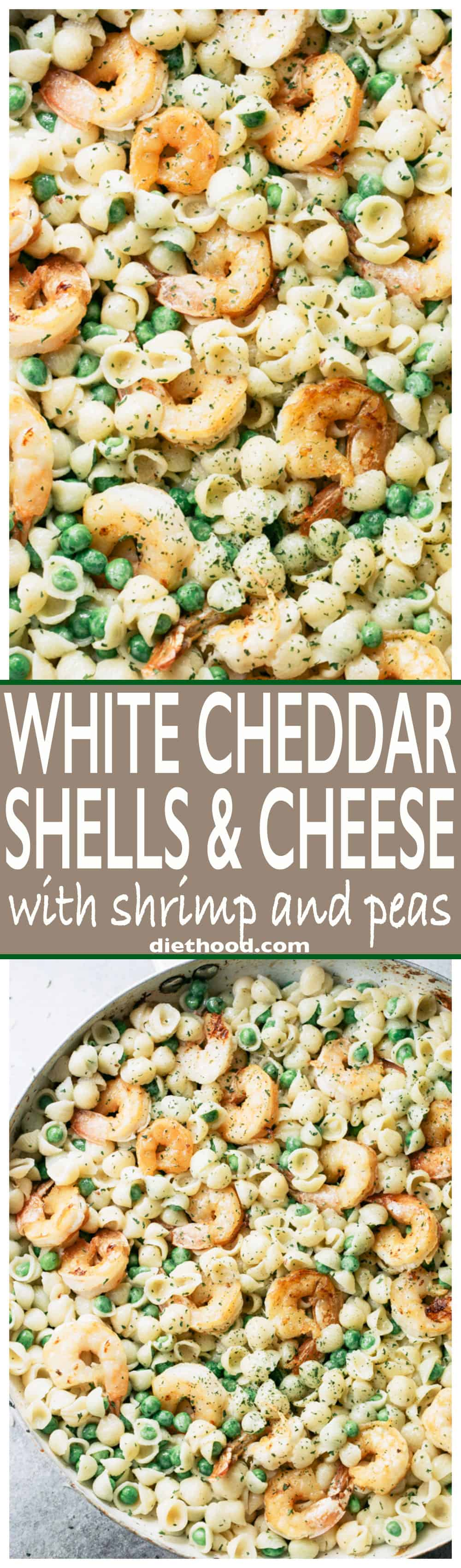 White Cheddar Shells and Cheese with Shrimp and Peas - Made with lightened up creamy white cheddar cheese sauce, pasta shells, and sweet peas, Shrimp Shells and Cheeseputs a new spin on ordinary mac 'n cheese and the whole family will LOVE it!