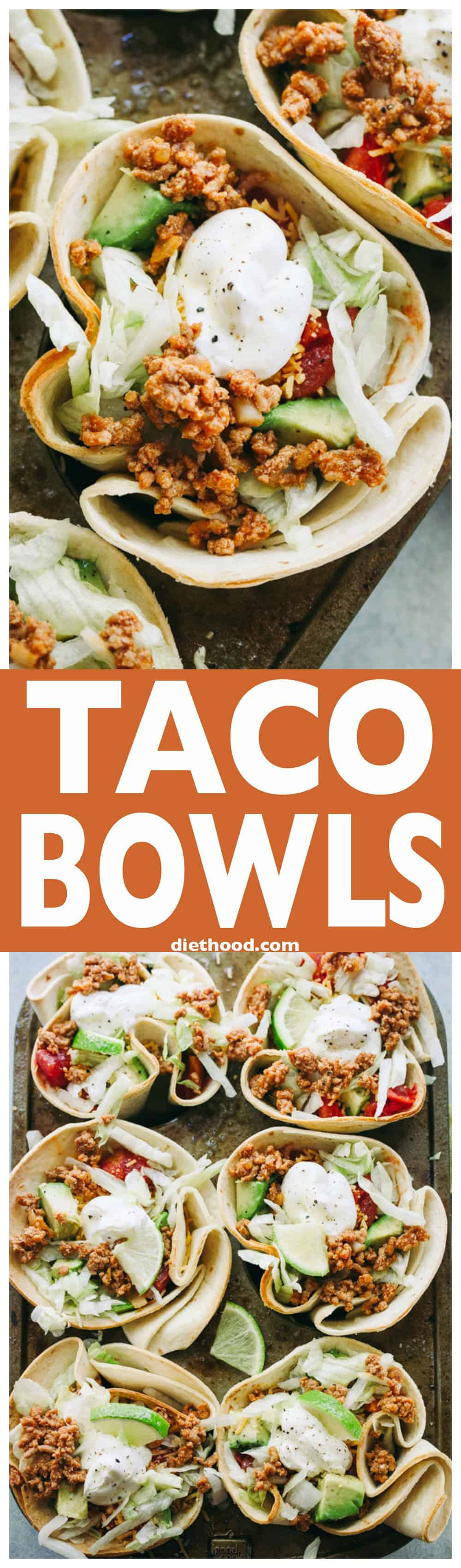 Taco Bowls - Fun and delicious baked flour tortilla bowls filled with taco-seasoned ground turkey meat, salad, tomatoes, cheese, and topped with a dollop of sour cream!