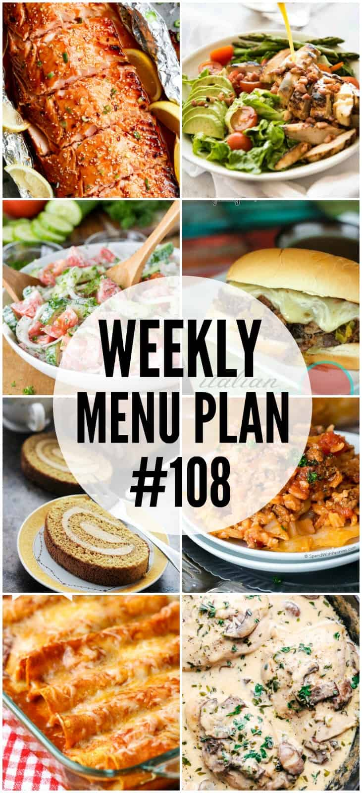 WEEKLY MENU PLAN (#108) - Seven talented bloggers bringing you a full week of recipes including dinner, sides dishes, and desserts!