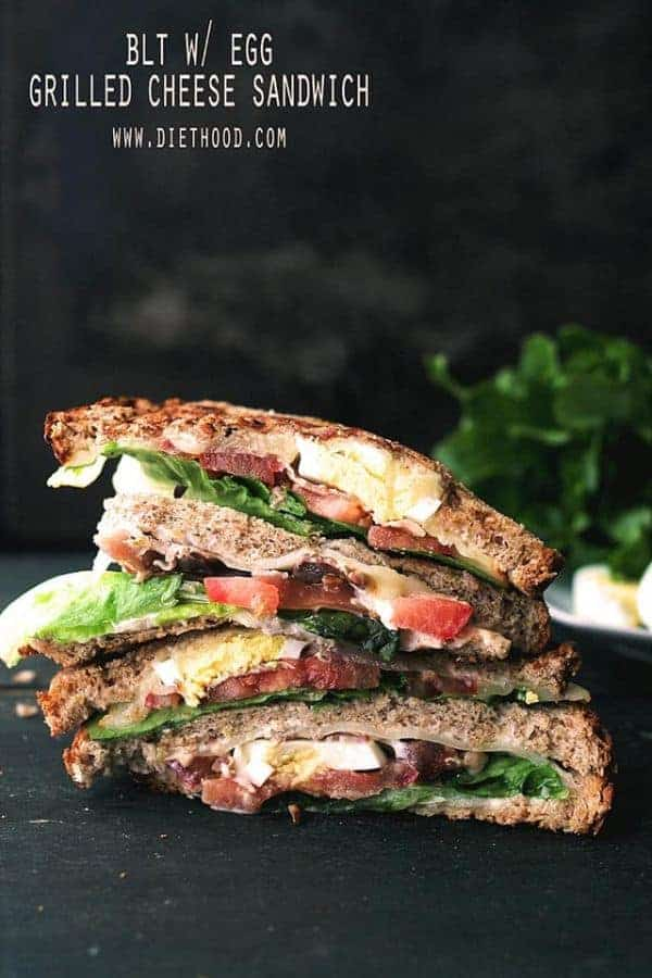 BLT with Egg Grilled Cheese Sandwich halves stacked together
