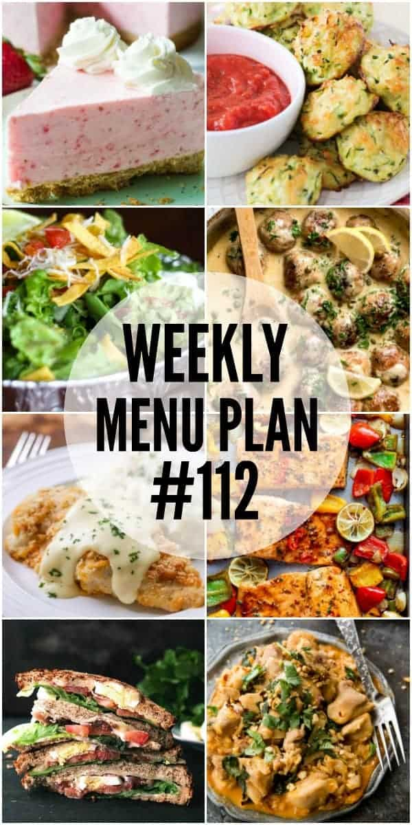 Collage of 8 recipes from the Week 112 Meal Plan
