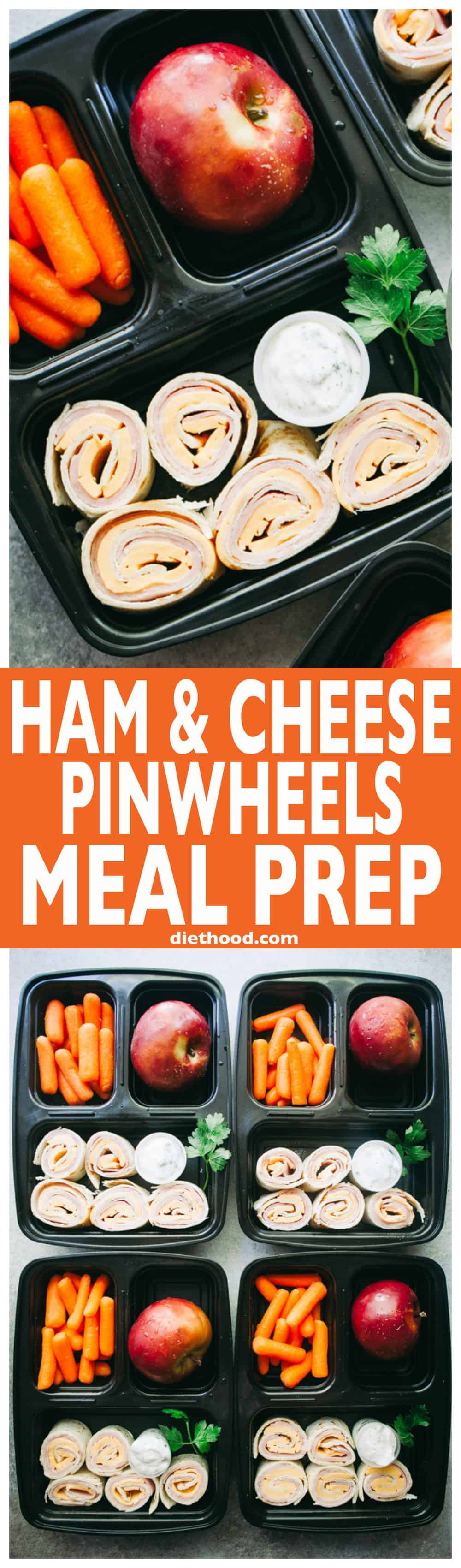 Ham and Cheese Pinwheels Meal Prep with Homemade Ranch Dip - Prep your BACK-TO-SCHOOL lunches with these delicious, easy-to-make ham and cheese pinwheels and a side of homemade ranch dip!