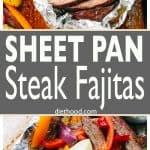 Sheet Pan Steak Fajitas Recipe - Fast, easy, one pan fajitas recipe with deliciously seasoned flank steak, colorful peppers, and onions.