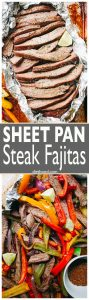 Sheet Pan Steak Fajitas Recipe - Fast, easy, one pan fajitas recipe with deliciously seasoned flank steak, colorful peppers, and onions.