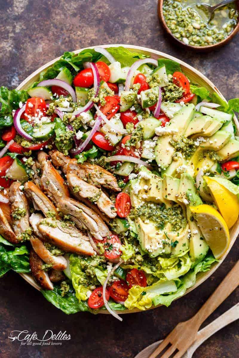 Pesto-Grilled-Chicken-Avocado-Salad
