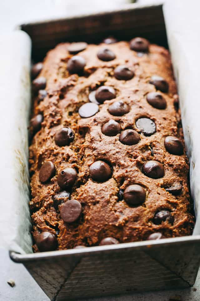 Chocolate Pumpkin Bread - This easy quick bread recipe is packed with warm spices, a wonderful chocolate and pumpkin flavor, plus it's lightened up and it's delicious!