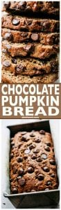 Chocolate Pumpkin Bread -This easy quick bread recipeis packed with warm spices, a wonderful chocolate and pumpkinflavor, plus it's lightened up and it's delicious!