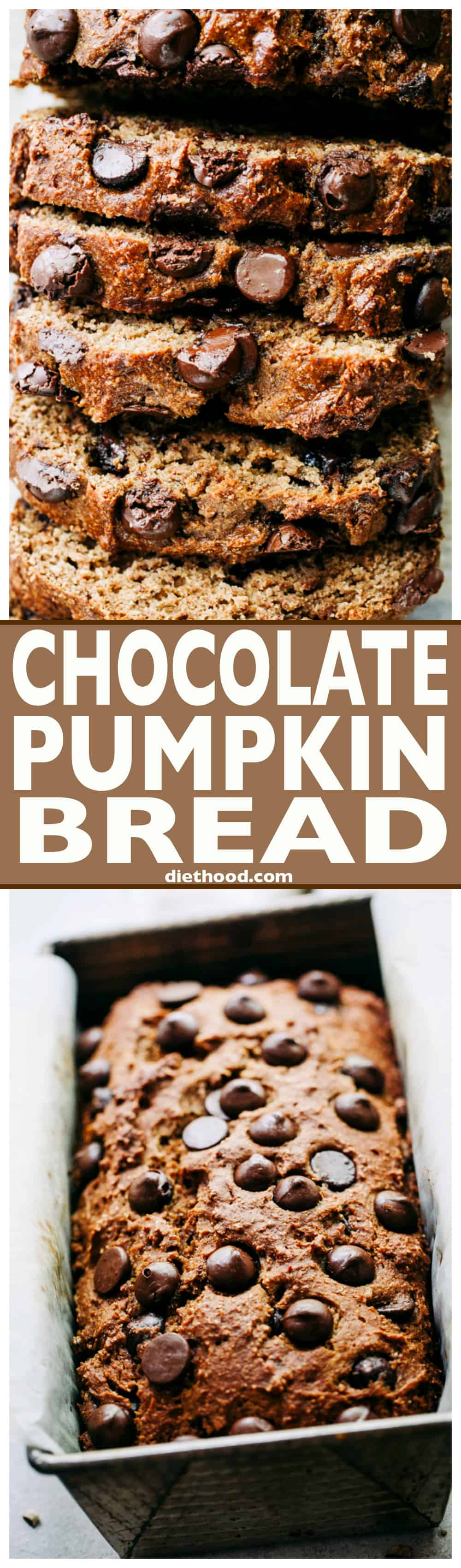 Pumpkin baking at its BEST! This easy, lightened up pumpkin bread recipeis packed with warm spices & vanilla, then dotted with dark chocolate chips. #pumpkinrecipes #pumpkin #fallbaking #thanksgiving