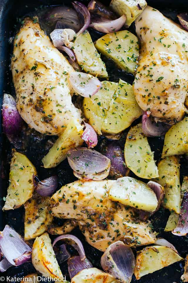 One Pan Roasted Chicken And Potatoes Recipe Easy Chicken