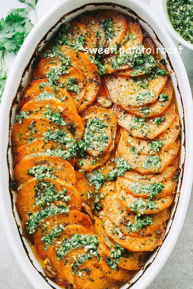 Sweet Potato Roast with Pesto | Easy Thanksgiving Side Dish Recipe