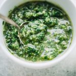 Parsley Pesto Recipe - A delicious twist on basil pesto, this pesto is prepared with parsley, walnuts, and cheese! It's great for pizzas, sandwiches, toppings, even pasta!