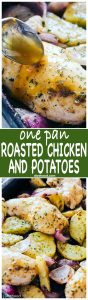 One Pan Roasted Chicken and Potatoes- Quick and easy one pan dinner recipe with chicken coated in a sweet and savory honey mustard sauce and roasted alongside seasoned and incredibly flavorful potatoes and red onions.