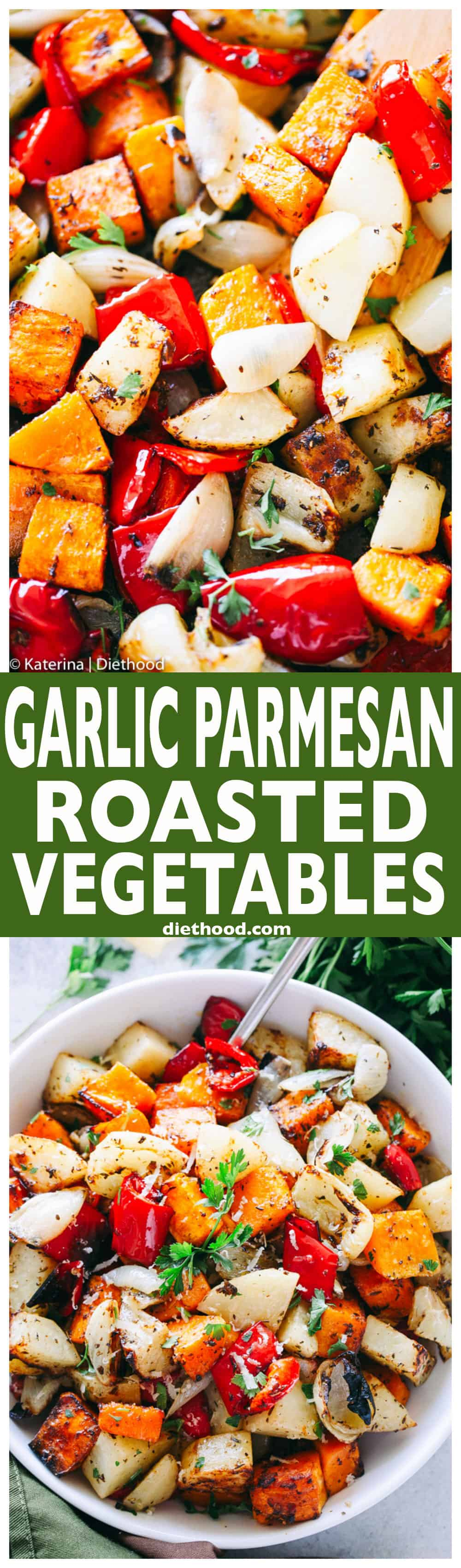 Garlic Parmesan Roasted Vegetables - Butternut squash, potatoes, peppers, and onions tossed in the best garlic parmesan dressing prepared with balsamic vinegar, herbs, seasonings, garlic, and olive oil.