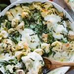 Easy Creamy Chicken Pesto Tortellini - Delicious, super easy dinner with creamy, cheesy tortellini, basil pesto, chicken and spinach.