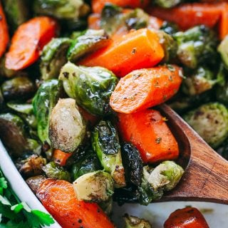 Garlic Brown Butter Roasted Brussels Sprouts and Carrots