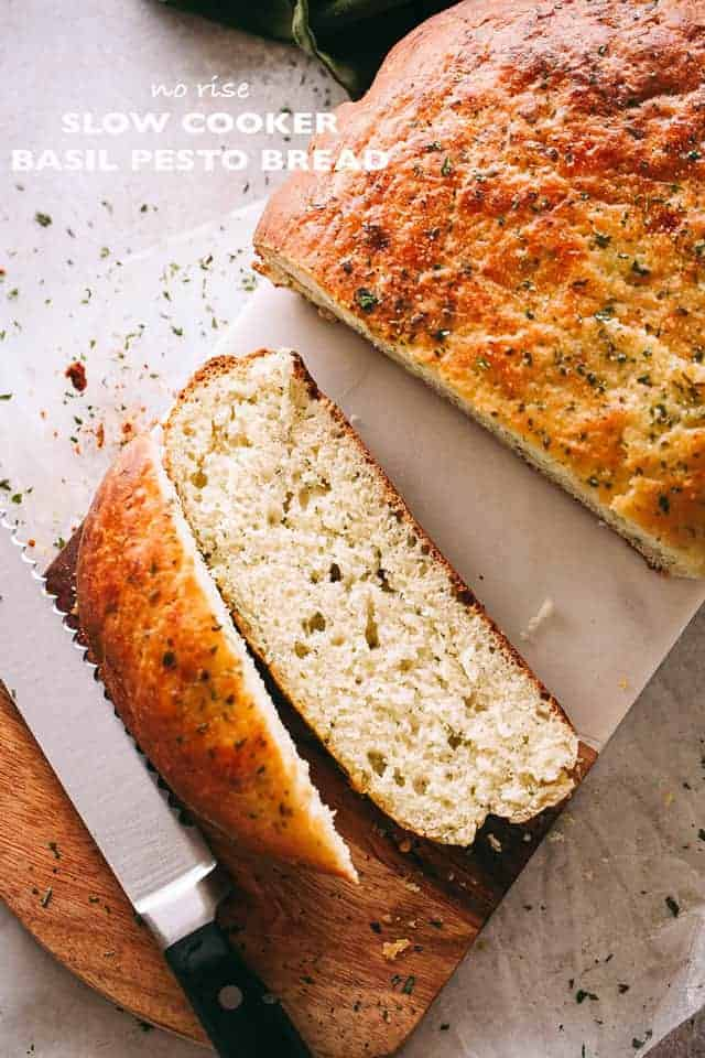 No Rise Slow Cooker Basil Pesto Bread Easy Crock Pot Bread Recipe