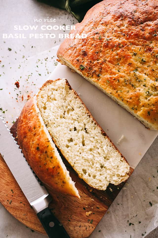 (No-Rise) Slow Cooker Basil Pesto Bread - This no-rise, no-fuss, SUPER DELICIOUS slow cooker bread is packed with basil pesto and it's probably one of the most flavorful bread recipes you will ever make!