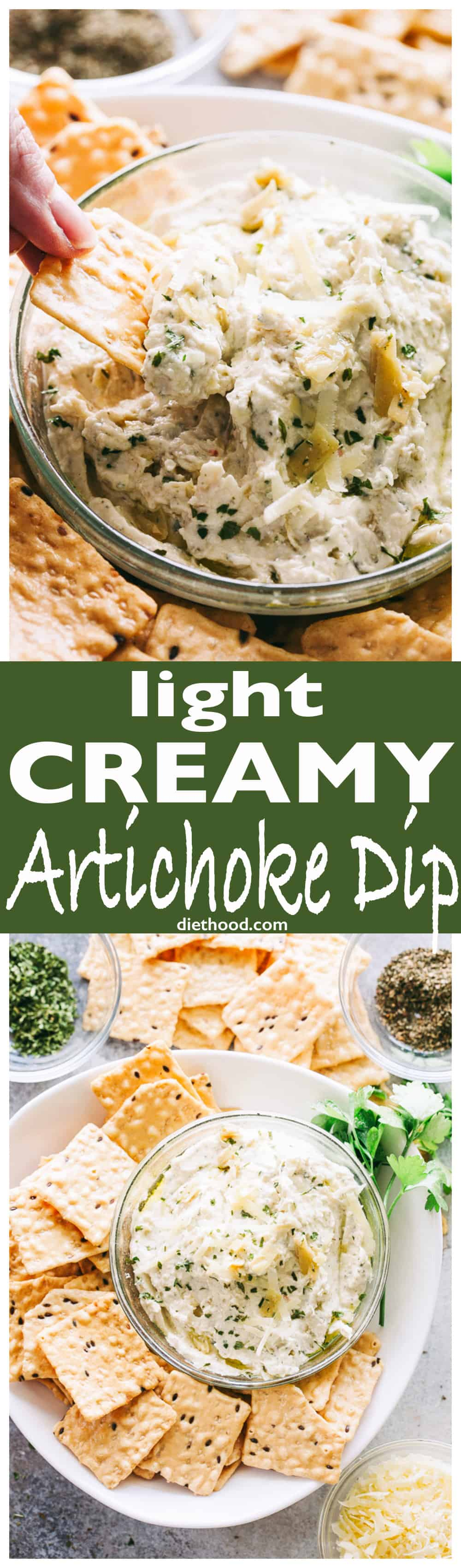 Light Creamy #Artichoke Dip - My favorite #dip to bring to #Holiday parties! It's creamy, cheesy, yet light and super delicious!
