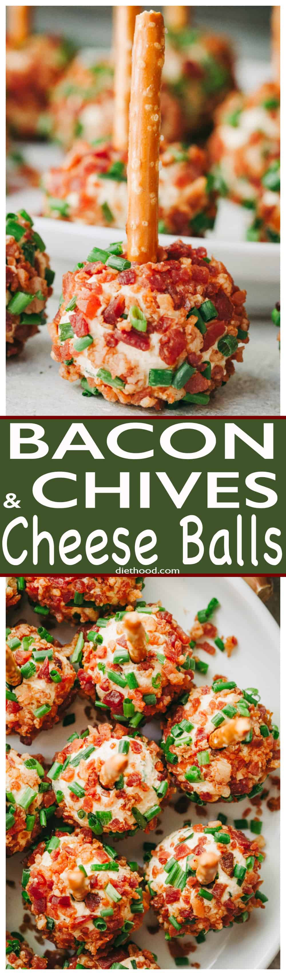 Bacon and Chives Cheese Balls Recipe - Easy, cheesy and bacony bite-size appetizer ideal for your Holiday parties or even game days! #bacon #holidays #appetizers #cheese