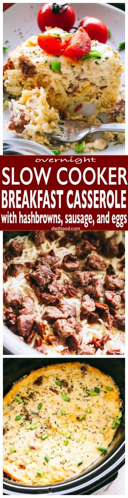 Overnight Slow Cooker Breakfast Casserole - Set the slow cooker overnight and wake up to this amazing breakfast casserole loaded with hashbrowns, cheese, sausage, and eggs. Perfect for Christmas or Holiday mornings, and when hosting a big crowd.