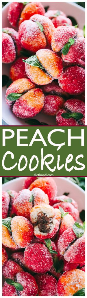 Peach Cookies - Nutella filled sandwich cookies that look like peaches! These cookies are a show stopper and will look beautiful on your Holiday cookie tray.