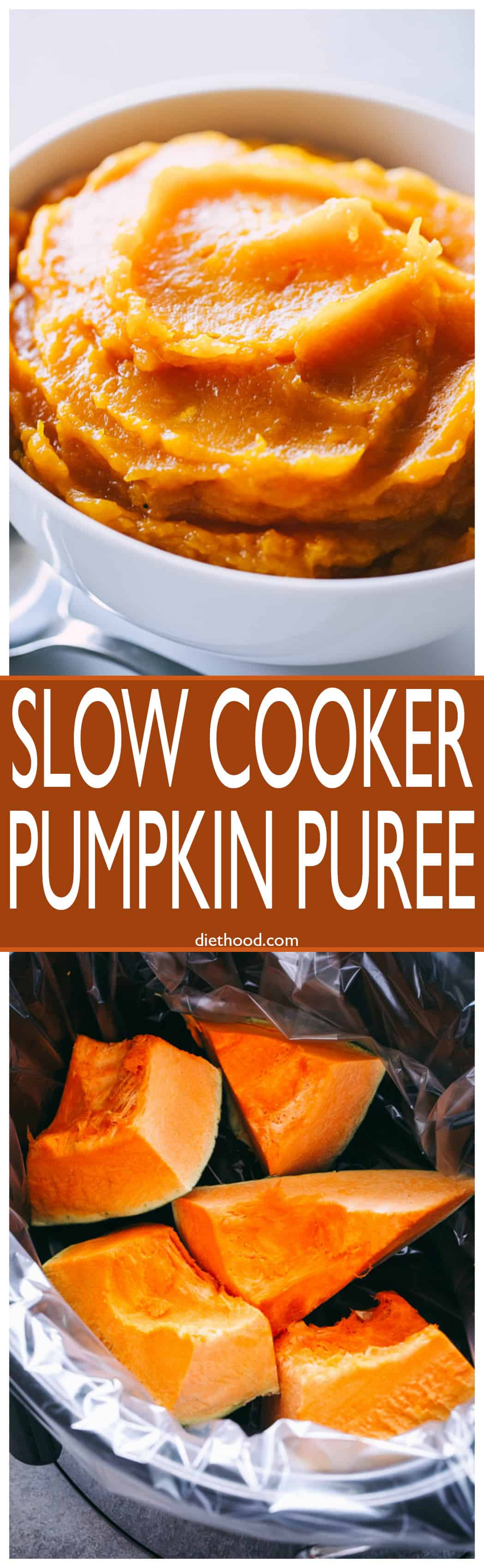Slow Cooker Pumpkin Puree - Super easy way to prepare homemade and delicious #slowcooker #pumpkin puree, and it's so so so much better than store-bought!