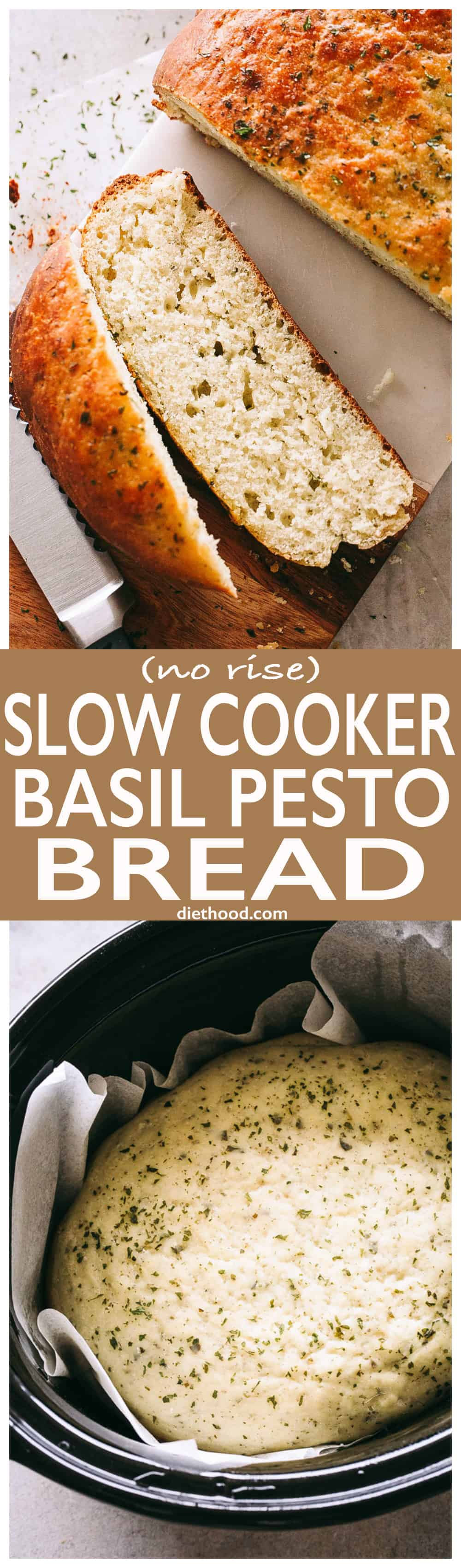 (No-Rise) Slow Cooker Basil Pesto Bread - This no-rise, no-fuss, SUPER DELICIOUS slow cooker bread is packed with basil pesto and it's probably one of the most flavorful bread recipes you will ever make! #slowcooker #bread #crockpot