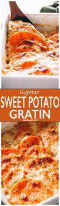 Sweet Potato Gratin- Lightened up, creamy, cheesy, seasoned sauce makes this sweet potato gratin simply irresistible!