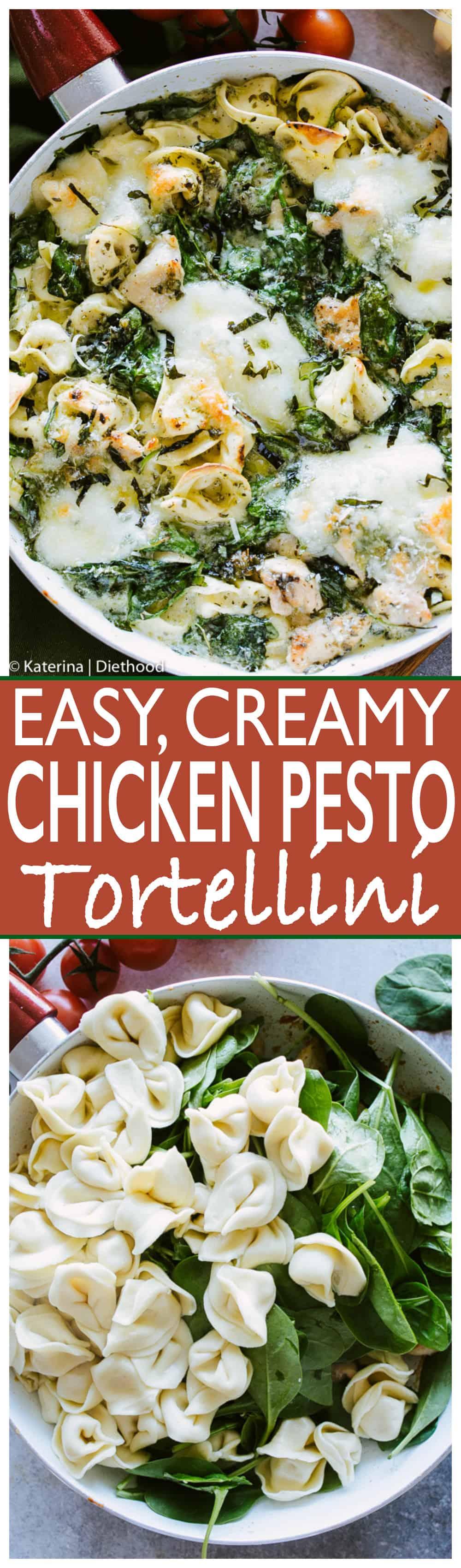 Easy Creamy Chicken Pesto Tortellini - Delicious, super easy #dinner with creamy, cheesy tortellini, basil #pesto, #chicken and #spinach.