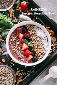 Rainbow Protein Smoothie Bowl - Prepared with a rainbow of colors and an amazing mix of flavors, this protein smoothie bowl is an easy, convenient, and delicious way to getproteinand natural energy support to fuel your day.
