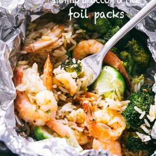 Shrimp Foil Packets with Broccoli and Rice
