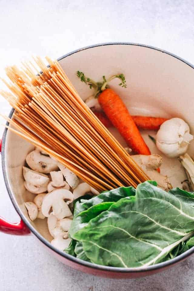 Easy Soba Noodle Soup Recipe - Simple and easy 30-minute soba noodle soup prepared with mushrooms, noodles, and greens.