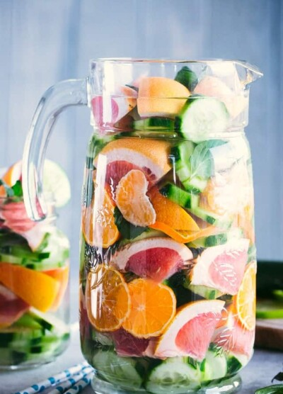 Spa Detox Water - Simple, healthy, and delicious spa detox water recipe prepared with citrus fruits, mint, and cucumbers.