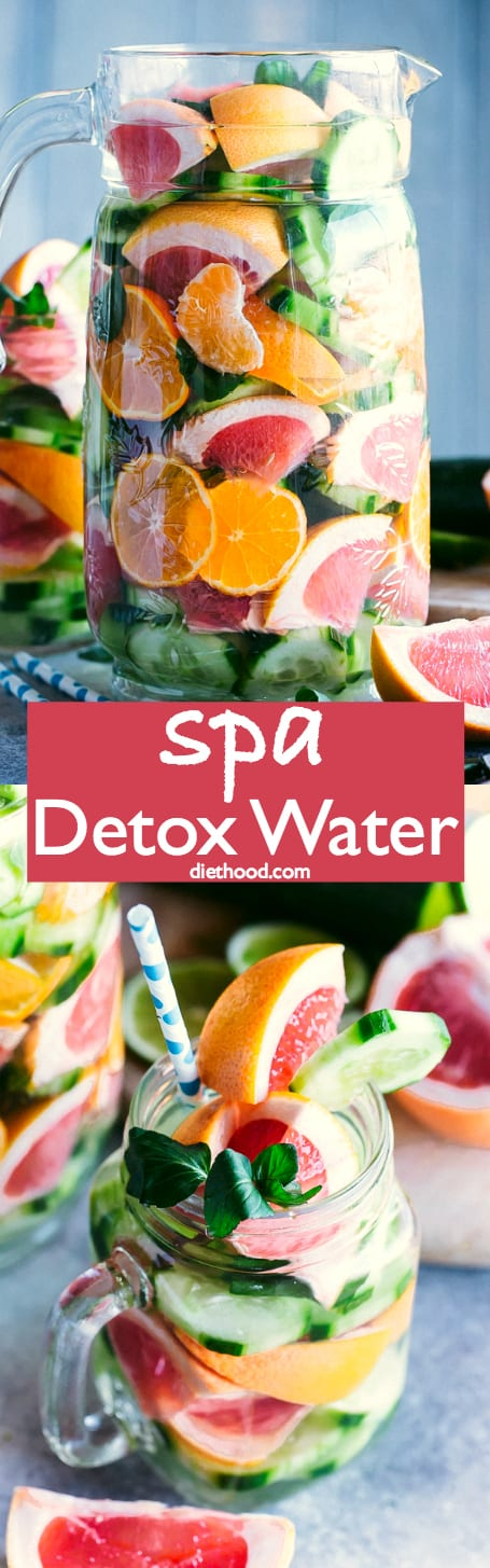 Spa Detox Water - Simple, healthy, and delicious spa detox water recipe prepared with citrus fruits, mint, and cucumbers. #detox #healthy #fruitwater #newyearsresolution