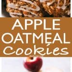 Apple Oatmeal Cookies - These perfectly soft and chewy oatmeal cookies are loaded with apples, oats, and cinnamon, and are topped with a simple sweet glaze.