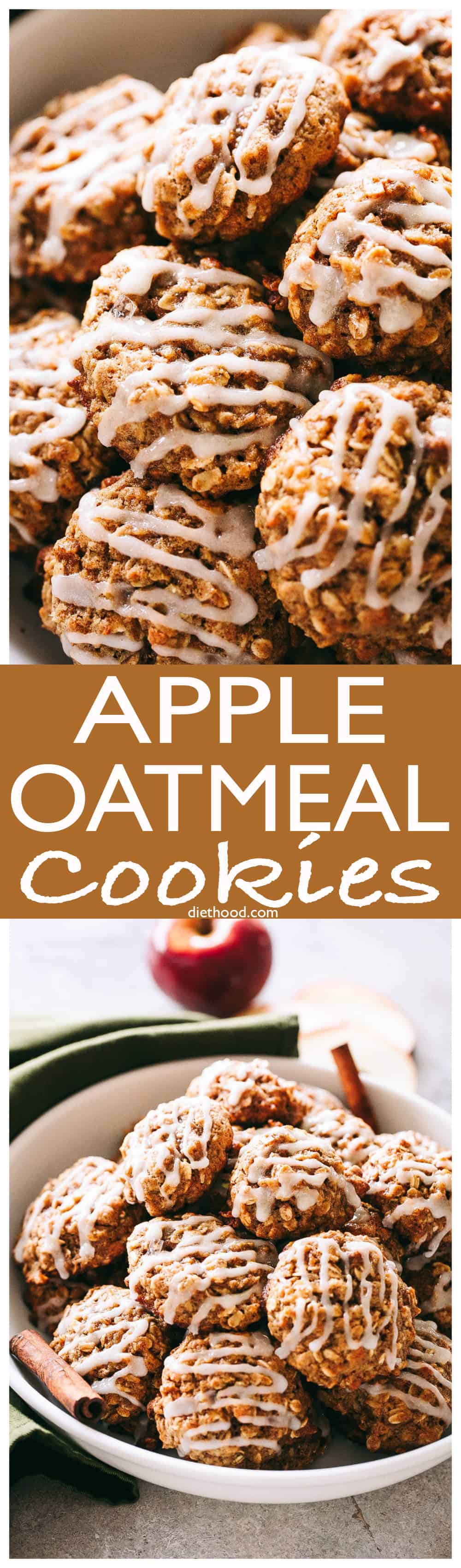 Apple Oatmeal Cookies - These perfectly soft and chewy oatmeal cookies are loaded with apples, oats, and cinnamon, and are topped with a simple sweet glaze. #cookies #oatmeal #christmas